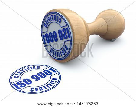 Rubber stamp with ISO 9001 on white background - 3d illustration
