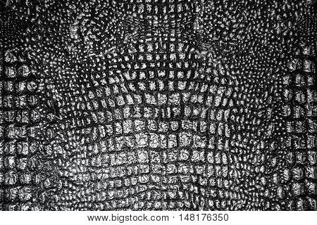 Metallic Texture Like Crocodile Skin Leather