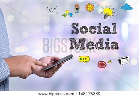 Social Media Communication Sharing Network Man Use Social Media
