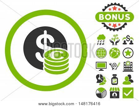 Euro and Dollar Coins icon with bonus images. Vector illustration style is flat iconic bicolor symbols, eco green and gray colors, white background.