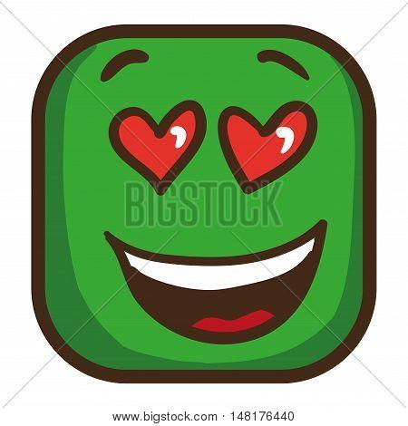 Colorful emoticon, square emoji flat. Vector Illustration.