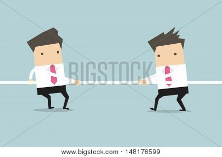 Businessmen playing tug of war. vector illustration