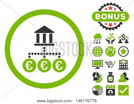 Euro Bank Transactions icon with bonus elements. Vector illustration style is flat iconic bicolor symbols, eco green and gray colors, white background.