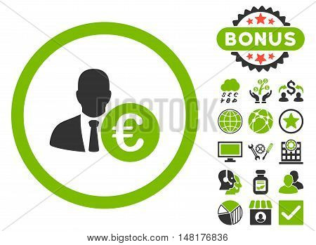 Euro Banker icon with bonus images. Vector illustration style is flat iconic bicolor symbols, eco green and gray colors, white background.
