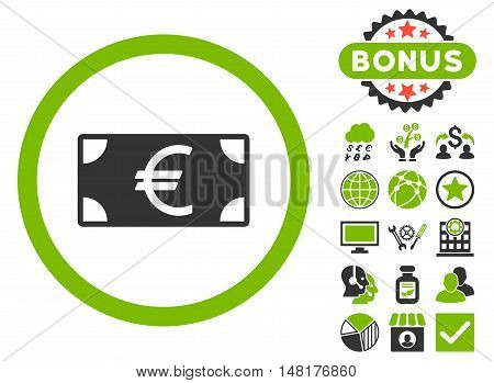 Euro Banknote icon with bonus elements. Vector illustration style is flat iconic bicolor symbols, eco green and gray colors, white background.