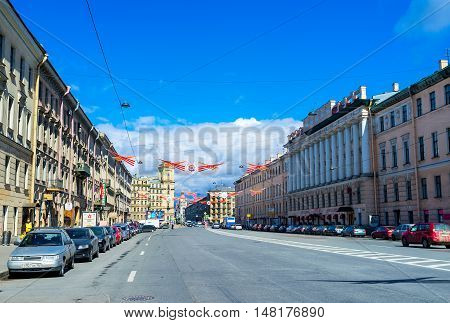 ST PETERSBURG RUSSIA - APRIL 25 2015: The Izmailovsky Prospekt with Victory Day decorations over the wide road on April 25 in St Petersburg.