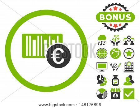 Euro Barcode icon with bonus symbols. Vector illustration style is flat iconic bicolor symbols, eco green and gray colors, white background.