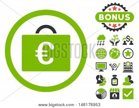 Euro Bookkeeping Case icon with bonus elements. Vector illustration style is flat iconic bicolor symbols, eco green and gray colors, white background.