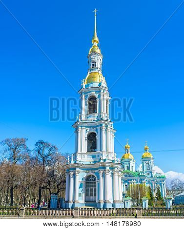 The ensemble of Baroque Cathedral of St Nicholas located on the bank of Krukov Canal in Glinki street St Petersburg Russia.