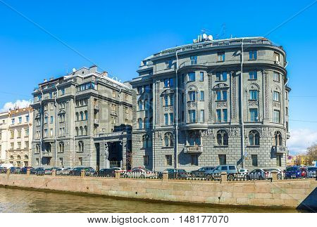 The dark grey building at Krukov Canal belongs to Lendoc Art Center based in Documentary Film Studio of the St Petersburg Russia.