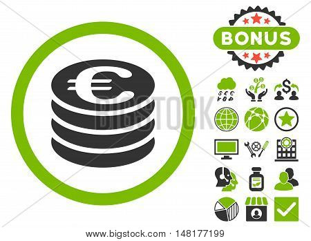 Euro Coin Column icon with bonus design elements. Vector illustration style is flat iconic bicolor symbols, eco green and gray colors, white background.