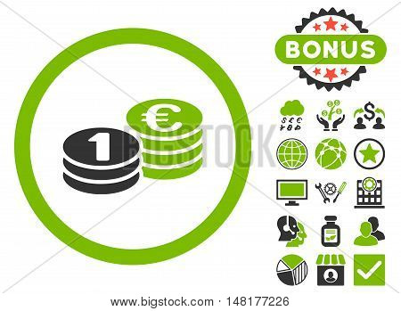 Euro Coin Columns icon with bonus images. Vector illustration style is flat iconic bicolor symbols, eco green and gray colors, white background.