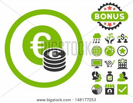 Euro Coin Stack icon with bonus symbols. Vector illustration style is flat iconic bicolor symbols, eco green and gray colors, white background.