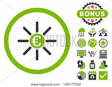 Euro Distribution icon with bonus design elements. Vector illustration style is flat iconic bicolor symbols, eco green and gray colors, white background.