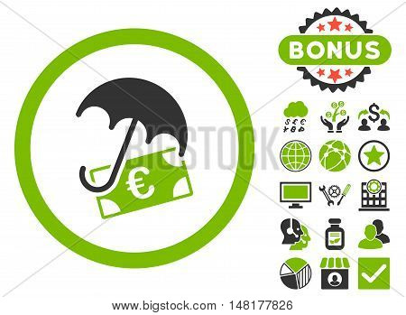 Euro Financial Umbrella icon with bonus symbols. Vector illustration style is flat iconic bicolor symbols, eco green and gray colors, white background.