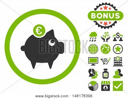 Euro Piggy Bank icon with bonus images. Vector illustration style is flat iconic bicolor symbols, eco green and gray colors, white background.