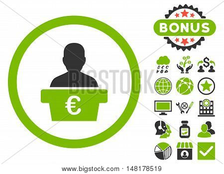 Euro Politician icon with bonus symbols. Vector illustration style is flat iconic bicolor symbols, eco green and gray colors, white background.
