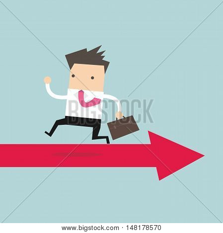 Businessman running opposite arrow way. vector illustration