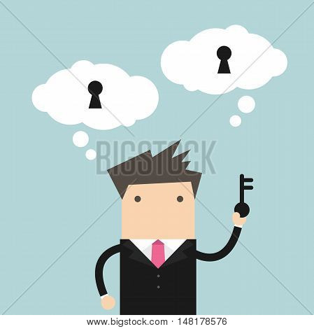 Businessman holding key for unlock the idea. vector