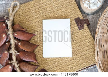 White Blank Paper With Wickerwork Background