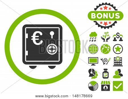 Euro Safe icon with bonus pictogram. Vector illustration style is flat iconic bicolor symbols, eco green and gray colors, white background.