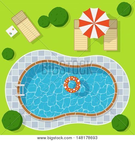 Swimming pool on a green meadow with umbrella and chaise lounge. Blue water leisure relaxation holiday travel. Resort swimming vector pool luxury lifestyle tropical outdoor.