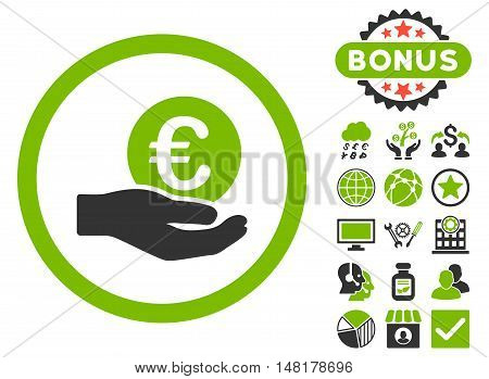 Euro Salary Hand icon with bonus pictogram. Vector illustration style is flat iconic bicolor symbols, eco green and gray colors, white background.