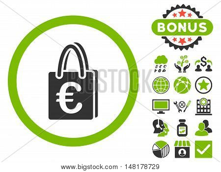 Euro Shopping Bag icon with bonus design elements. Vector illustration style is flat iconic bicolor symbols, eco green and gray colors, white background.
