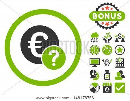 Euro Status icon with bonus symbols. Vector illustration style is flat iconic bicolor symbols, eco green and gray colors, white background.