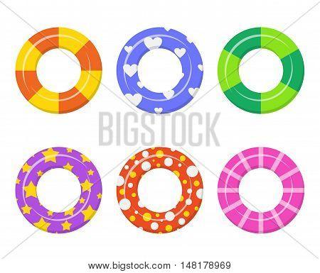 Set colorful swim rings icon isolated on white background.