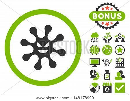 Evil Bacteria icon with bonus symbols. Vector illustration style is flat iconic bicolor symbols, eco green and gray colors, white background.