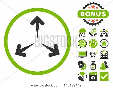 Expand Arrows icon with bonus images. Vector illustration style is flat iconic bicolor symbols, eco green and gray colors, white background.