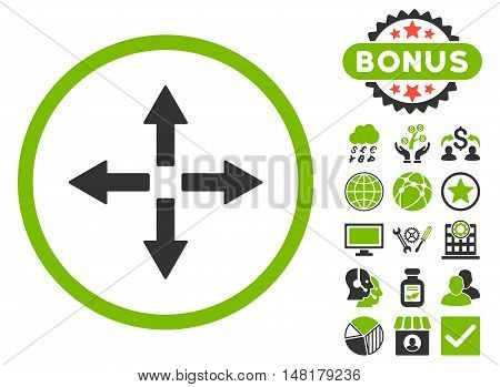 Expand Arrows icon with bonus symbols. Vector illustration style is flat iconic bicolor symbols, eco green and gray colors, white background.