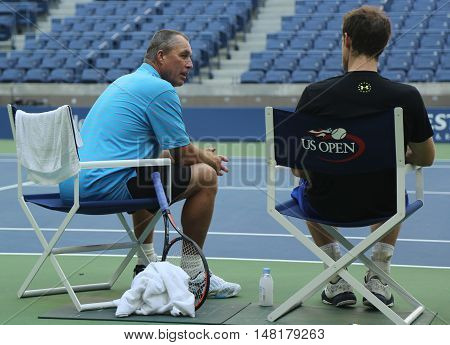 NEW YORK - AUGUST 28, 2016: Grand Slam Champion Andy Murray (R) after practice for US Open 2016 with his coach Grand Slam Champion Ivan Lendl at Billie Jean King National Tennis Center
