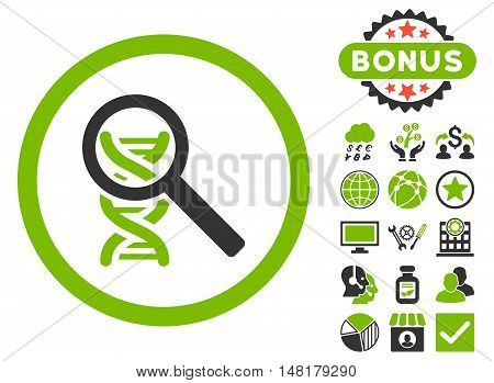 Explore DNA icon with bonus pictures. Vector illustration style is flat iconic bicolor symbols, eco green and gray colors, white background.