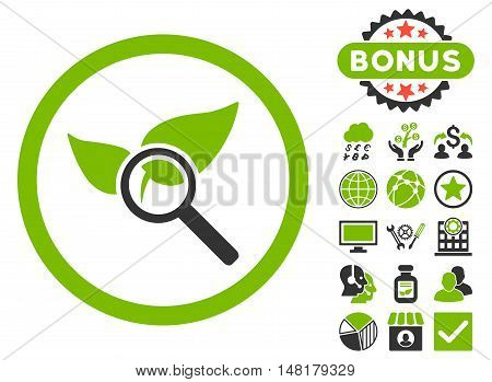 Explore Natural Drugs icon with bonus elements. Vector illustration style is flat iconic bicolor symbols, eco green and gray colors, white background.