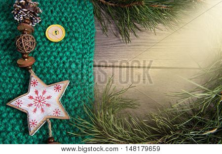 Christmas tree decoration snowflake wooden texture background woolen warm texture green new year