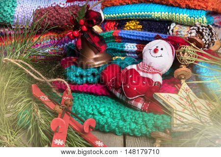 striped colorful wool texture handmade patten closeup macro blue red green yellow pink purple orange beige christmas decoration snowman