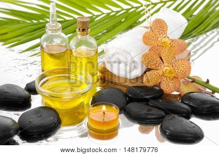 spa concept with palm ,towel, oil,candle,stones, orchid