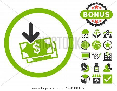 Get Banknotes icon with bonus design elements. Vector illustration style is flat iconic bicolor symbols, eco green and gray colors, white background.