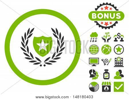 Glory Shield icon with bonus images. Vector illustration style is flat iconic bicolor symbols, eco green and gray colors, white background.