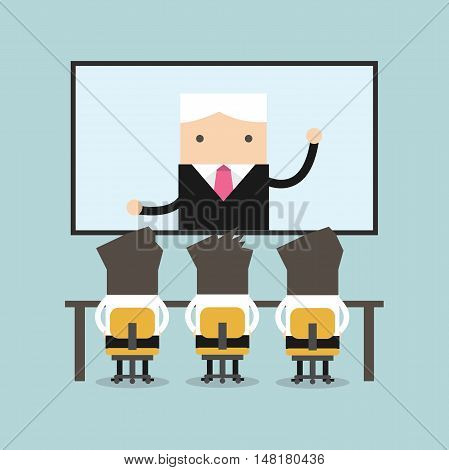 Businessmen sitting on chair, boss speaking from digital flat screen. Video conference flat vector.
