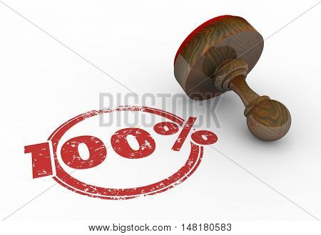 100 Percent Stamp Perfect Total Best Score Grade 3d Illustration