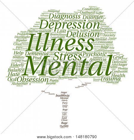 Vector concept conceptual mental illness disorder management or therapy abstract tree word cloud isolated on background