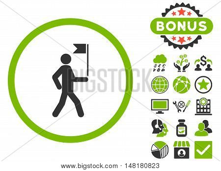 Guide icon with bonus elements. Vector illustration style is flat iconic bicolor symbols, eco green and gray colors, white background.