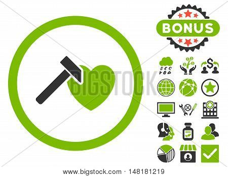 Heart Hammer icon with bonus elements. Vector illustration style is flat iconic bicolor symbols, eco green and gray colors, white background.