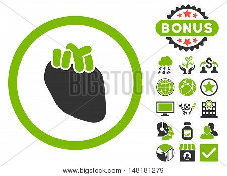 Heart Organ icon with bonus design elements. Vector illustration style is flat iconic bicolor symbols, eco green and gray colors, white background.