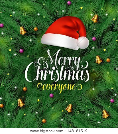 Merry christmas greetings typography with santa claus hat in a green pine leaves background with colorful christmas ornaments and decorations hanging. Vector illustration.