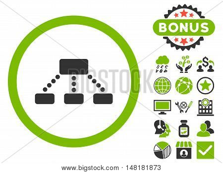 Hierarchy icon with bonus design elements. Vector illustration style is flat iconic bicolor symbols, eco green and gray colors, white background.