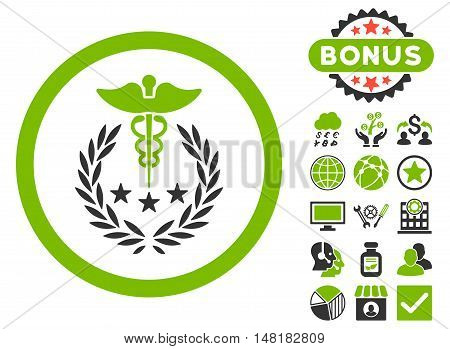 Caduceus Logo icon with bonus pictogram. Vector illustration style is flat iconic bicolor symbols, eco green and gray colors, white background.